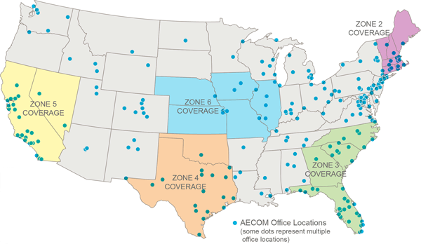 AECOM GSA BMO zones and office locations map