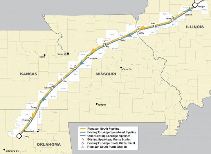 Flanagan South Pipeline United States - Map of existing us pipelines