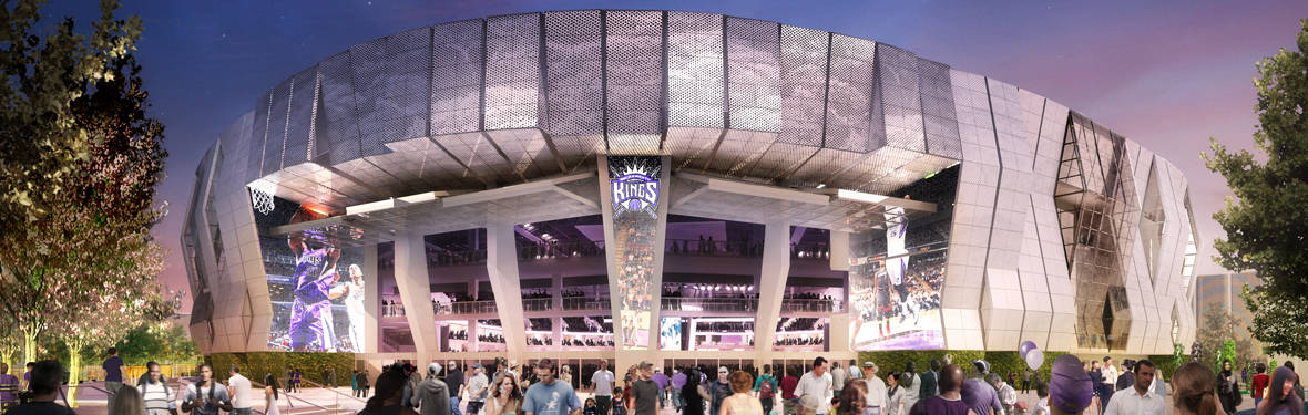 A rendering of the Golden 1 Center, which AECOM designed. Clients trust AECOM's architecture and design teams on the buildings and public spaces that shape communities and cities.