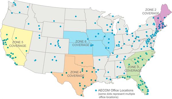 AECOM GSA BMO zones and office locations map