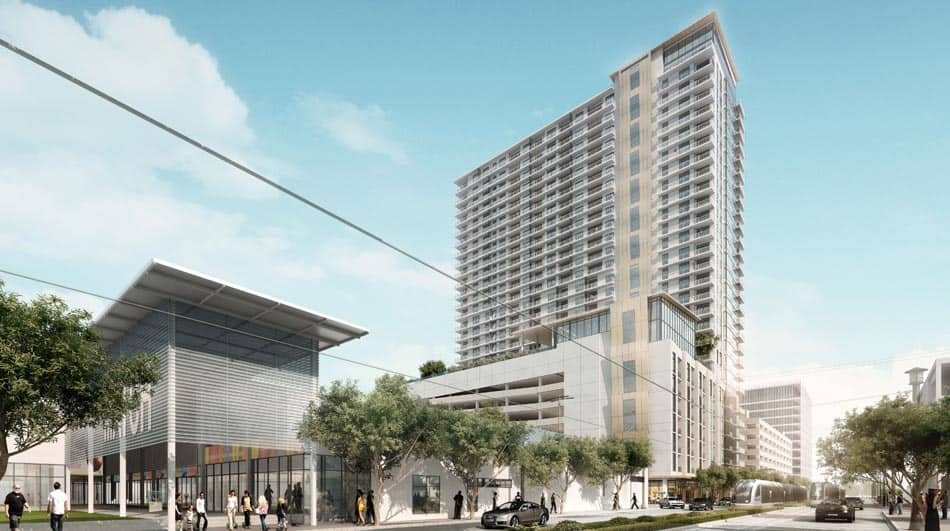 Rendering of 3300 Main Street, a mixed-use, 29-story development by AECOM Capital and PM Realty Group located in the midtown neighborhood of Houston, Texas
